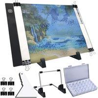 A4 LED אור Pad עבור יהלומי ציור  USB מופעל אור לוח קיט  מתכוונן בהירות עם נתיק Stand וסרטונים|תפירת צלב בצבעי יהלום|בית וגן -