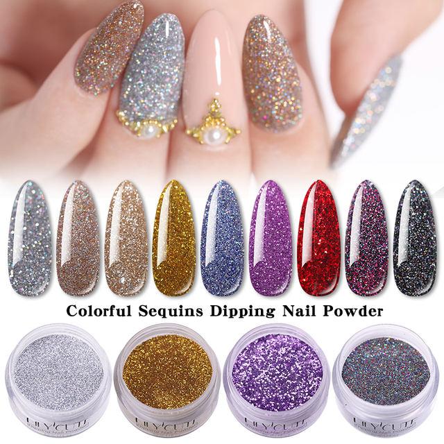 LILYCUTE Holographic Dipping Nail Glitter Powder Kits
