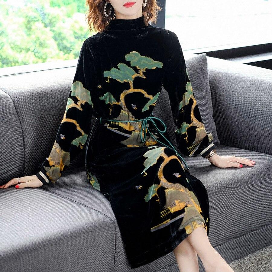 2019 Female Vintage Black Velvet Midi Dresses Autumn Winter 3XL Plus Size Long Sleeve Dress Elegant Women Bodycon Party Vestidos
