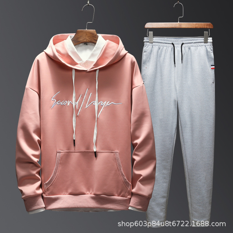 2019 Autumn And Winter Handsome Printed Simple Trend Hong Kong Style Loose-Fit Front English Lettered Embroidery Zhang Wei Yi Se