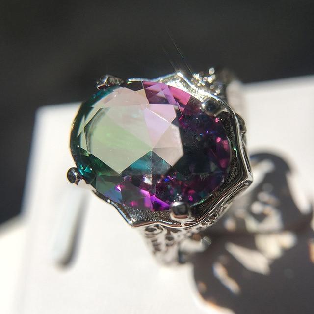 Купить новое поступление винтажные цветные кольца с большим цирконием картинки