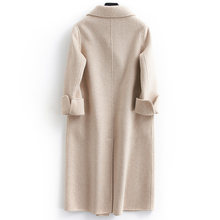 Autumn Winter Wool Coat Women Double Breasted Coats Female Alpaca Long Jackets Sided Woolen Spring Pink Overcoat LWL1314(China)