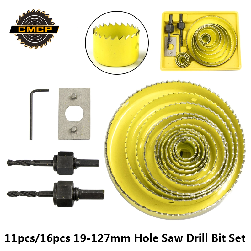 Hole Saw Cutting Set Kit Drilling Tool 19-127mm Wood Hole Cutter 11pc/16pc Core Drill Bit For Woodworking Tools