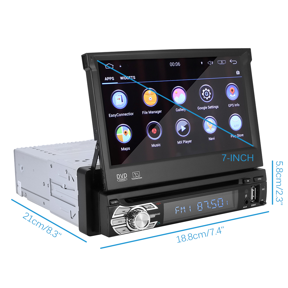 7inch Car Player Android 8.0 Car Radio 1 Din with DVD GPS Navigation Stereo FM BT AUX Reverse Camera MP5 Bluetooth USB TF image