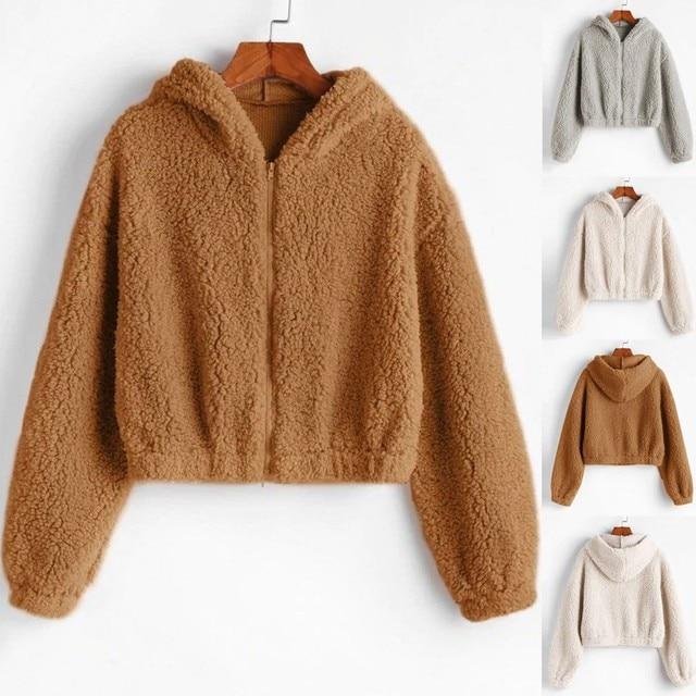 Fashion Women Sweatshirt Plus Size Solid Zipper Long Sleeve Fluffy Plush Sweatershirt Hoodie Tops Women Crop Top Hoodies