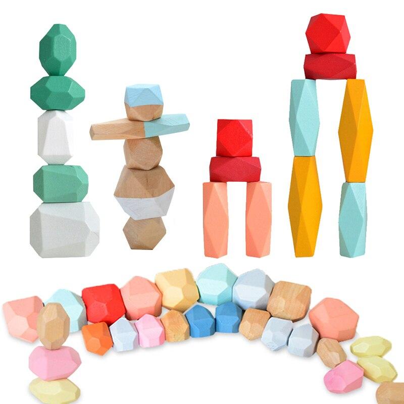 36PCS Farbige Kiefer/Buche Stein Jenga Baustein Pädagogisches Spielzeug Baby Stacking Spiel Balancing Stein Jenga Holz Spielzeug für Kinder