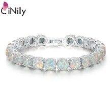 CiNily biały ognisty opal kamień Chain Link bransoletki i Bangles posrebrzane luksusowe większe Boho Bohemia biżuteria letnia prezenty kobieta