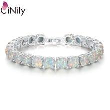 Cinily pulseira/bracelete de pedra de fogo branco, corrente de fecho e pulseira de prata, luxo maior, boho, boêmio, joias para o verão, presentes para mulheres