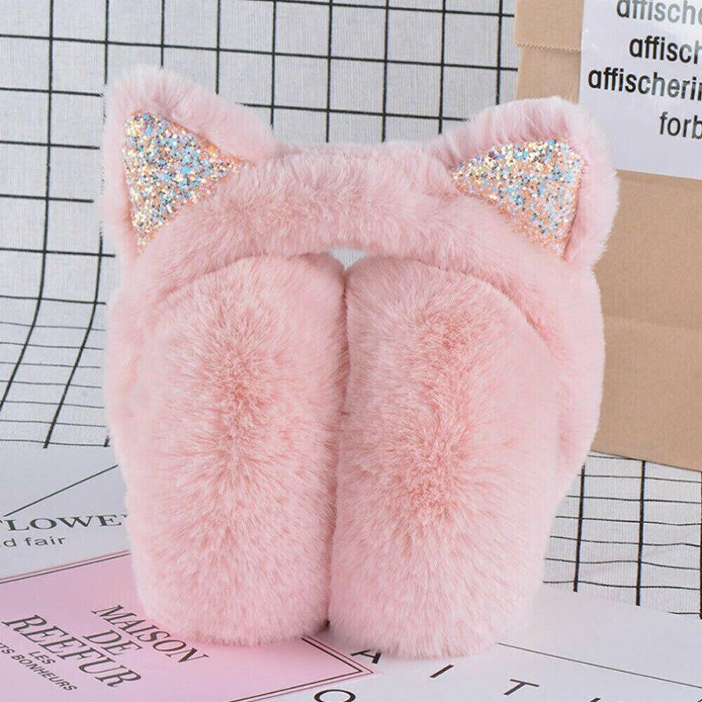 Fur Earmuffs 2019 Fashion Women Girl Fur Winter Cat Ear Warmer Earmuffs Cat Ear Muffs Earlap Glitter Sequin Ladies Headband