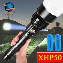 ZHIYU 강력한 26650 XHP50 LED 손전등 울트라 브라이트 2 모드 고정 초점 토치 램프 DC 충전식 캠핑 하이킹 랜턴