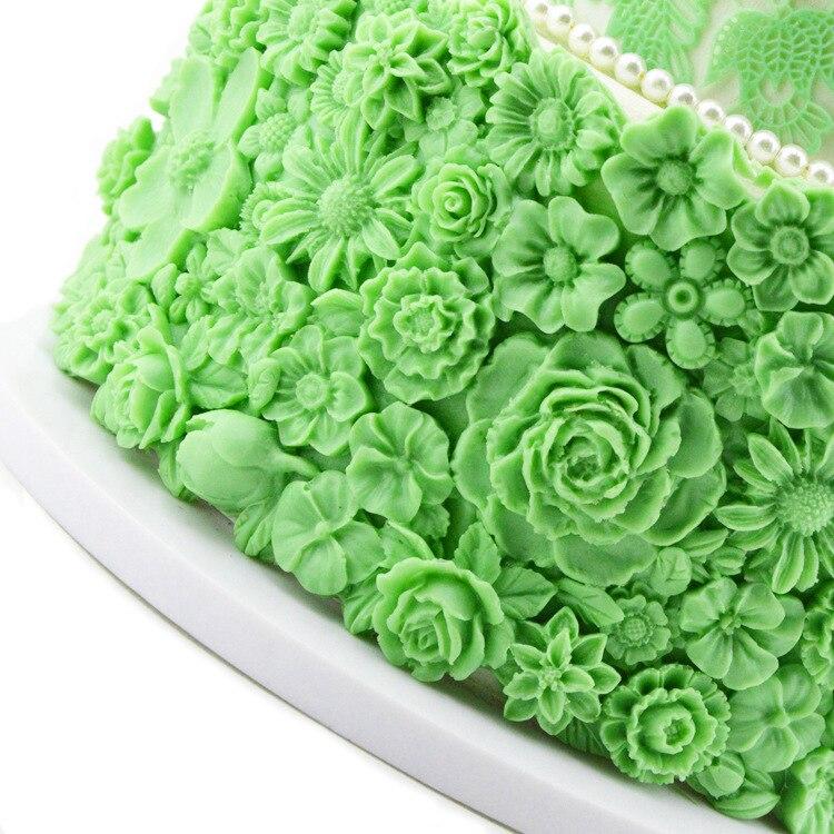 Grande açúcar flores molde bonito detalhado bolo