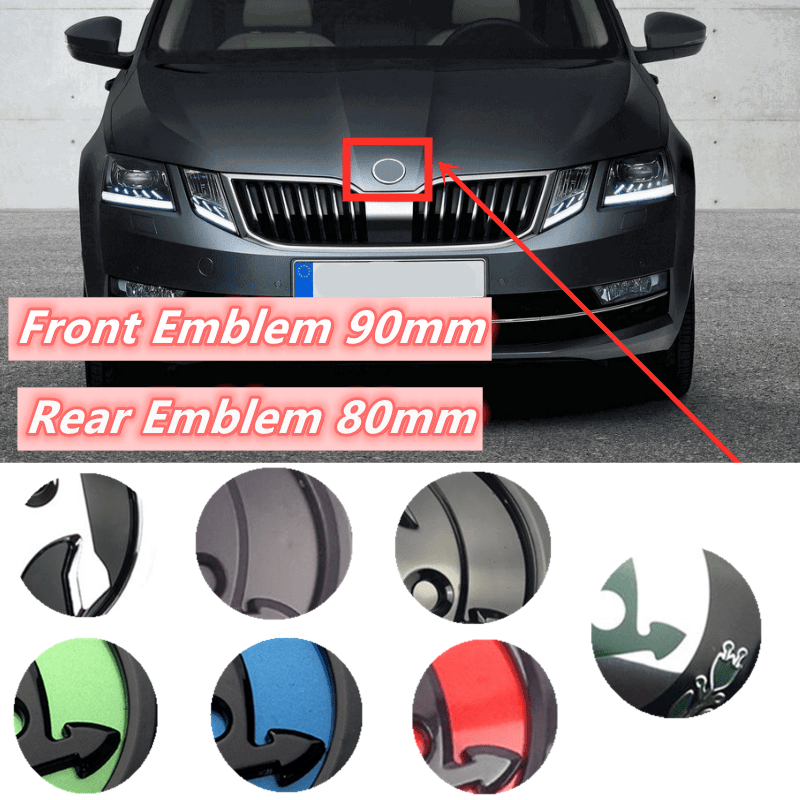 80mm 90mm ABS Emblem For Skoda Fabia 1 2 Octavia A7 RS Superb Rapid Yeti Karoq Vision Car Head Front Rear Boot Tailgate Sticker