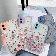 Coque de téléphone avec motif de fleurs et peinture artistique colorée, étui de Protection arrière pour iPhone 11 12 Pro 7 8 Plus XR X XS Max 12Mini caméra