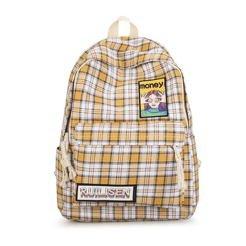 2019 новый холщовый клетчатый рюкзак, свежий и милый узор, сумка для девушек в духе колледжа, Мужская портативная большая Вместительная