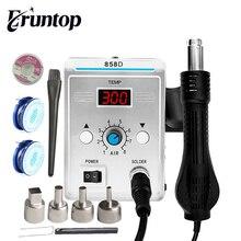 Bezołowiowa stacja lutownicza SMD LED cyfrowa lutownica Hot wiatrówka Blowser Eruntop 858D 858d +