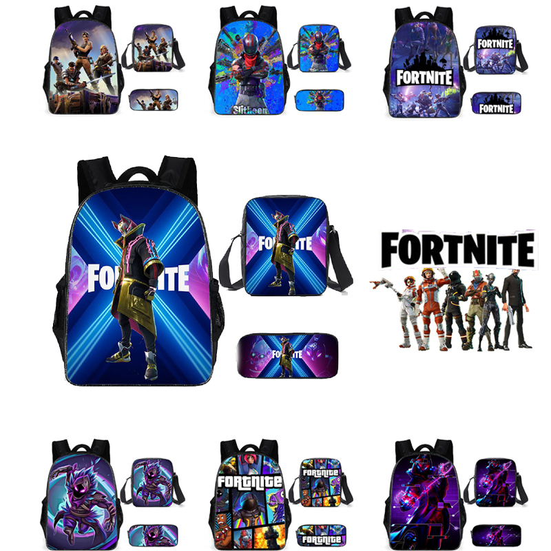 Mochila escolar Unisex para hombres, mochila para estudiantes, mochila escolar con dibujo animado de animé Fortnite, mochila escolar con cremallera, bolsa de hombro, conjunto de 3 uds