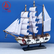 LUCKK 33CM US Classic COAST GUARD Wooden Sailing Boat Model Miniature Wood Figurine Retro Home Office Desktop Sea Ornament Gifts