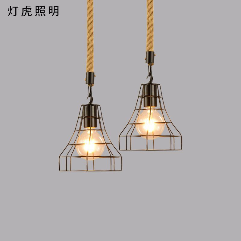 for Nordic lamp, wrought iron hemp rope single head bar industry wind restoring ancient ways restaurant droplight