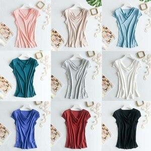 Image 5 - 비스코스 실크 혼합 탑 t 셔츠 여성 천연 실크 고품질 우아한 플러스 사이즈 짧은 루스 셔츠 여름 레이디 무료 배송