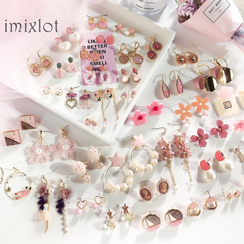 2020 Simple Korean Girl Cute Heart Pink Earrings Princess Bow Drop Earrings Wholesale For Women Fashion Jewelry Accessories