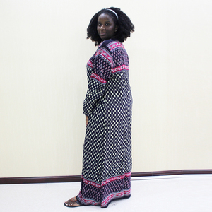 Image 4 - Dashikiage Embroidery Applique Dot Loose Long Dress Women 2019 Long Sleeve Vintage Maxi Dresses