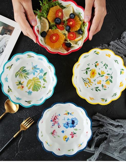 Японский стиль ручная роспись керамический милый фруктовый салатник
