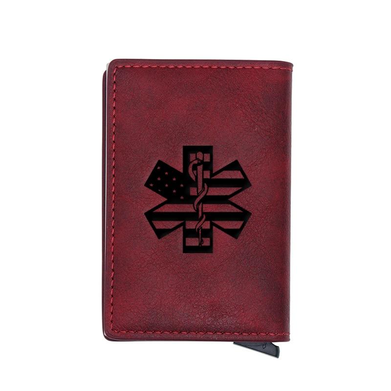 Classic American Flag EMT Emergency Medical Technician   Design Card Holder Wallets Men Women Rfid Leather Short Purse