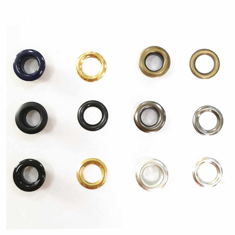 Material de latón Botón de ojales de metal colores de Enchapado más duro 2 piezas por juego de ojal de metal de diámetro interior de 8 MM