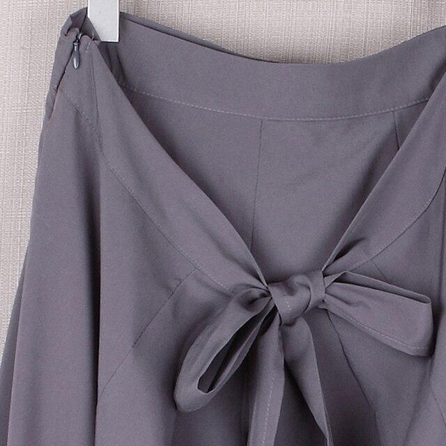 Women Palazzo Pants 2020 Causal Ruffle Drawstring Trouser Elegant High Waist Irregular Loose Pure Color Autumn Female Pant Skirt 6