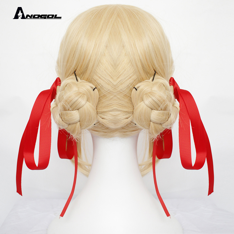 Image 3 - Anogol Brand New Violet Evergarden Wigs Long Wave Blonde Synthetic Hair Perucas Cosplay Wig For Halloween Costume Party+ Cap-in Synthetic None-Lace  Wigs from Hair Extensions & Wigs