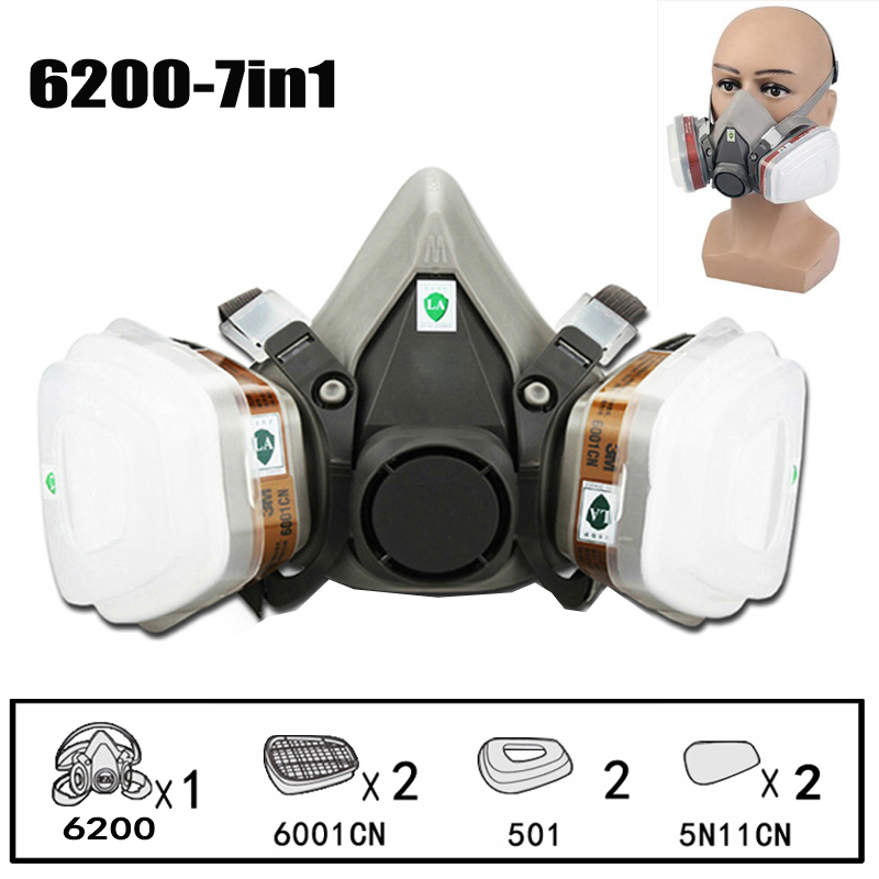 7 em 1 máscara de gás respirador químico máscara protetora spray de tinta industrial anti vapor orgânico pó máscara pm005