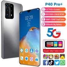 Plus récent Smartphone P40 Pro + Android 8GB RAM 256GB ROM 5000mAh Deca Core CPU téléphone portable 6.6