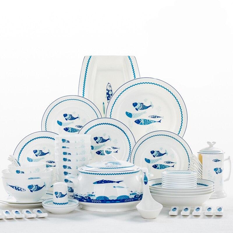 Service de vaisselle de 48 pièces | Service de vaisselle en porcelaine de poisson en forme d'os, buffet de cuisine en porcelaine, assiette à dîner en céramique, service