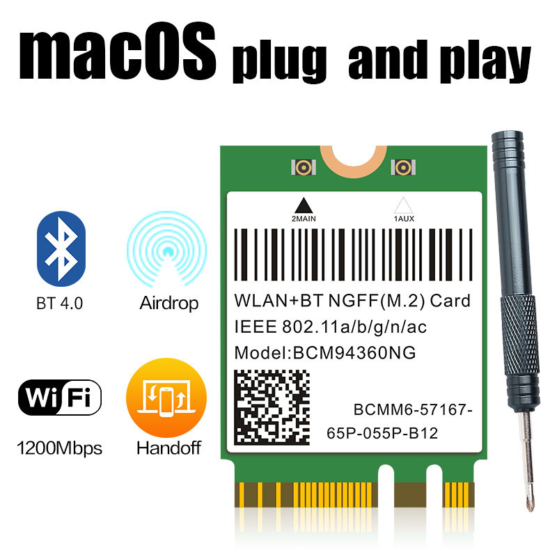1200Mbps 802.11ac WiFi Broadcom BCM94360NG NGFF M.2 BCM94360CS2 5Ghz WLAN Bluetooth 4.0 Card DW1560 For Windows Mac Hakintosh