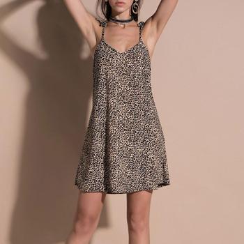 Sexy Leopard Print Camisole Mini Dress for Womens Beach Dresses V Neck Camisole Loose Camisole Mini Dress Summer Sundress #20 фото