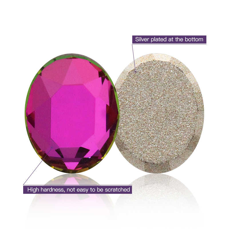 8x10 มม.รูปไข่ตกแต่งเล็บคริสตัล Strass แบนหิน Rhinestones Applique สีหินสำหรับหัตถกรรมชุดยิมนาสติก ClO