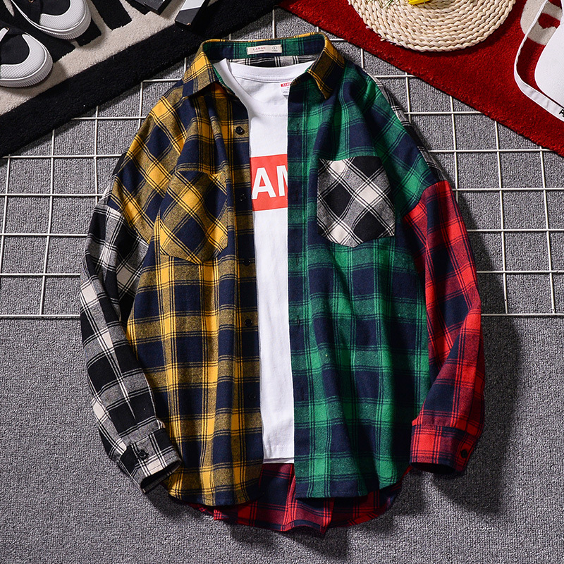 Men 's Loose Plaid Shirt Casual Jacket Student Shirt Plaid Long Sleeve Shirt Spring And Autumn Loose Color Matching Male Shirt(China)