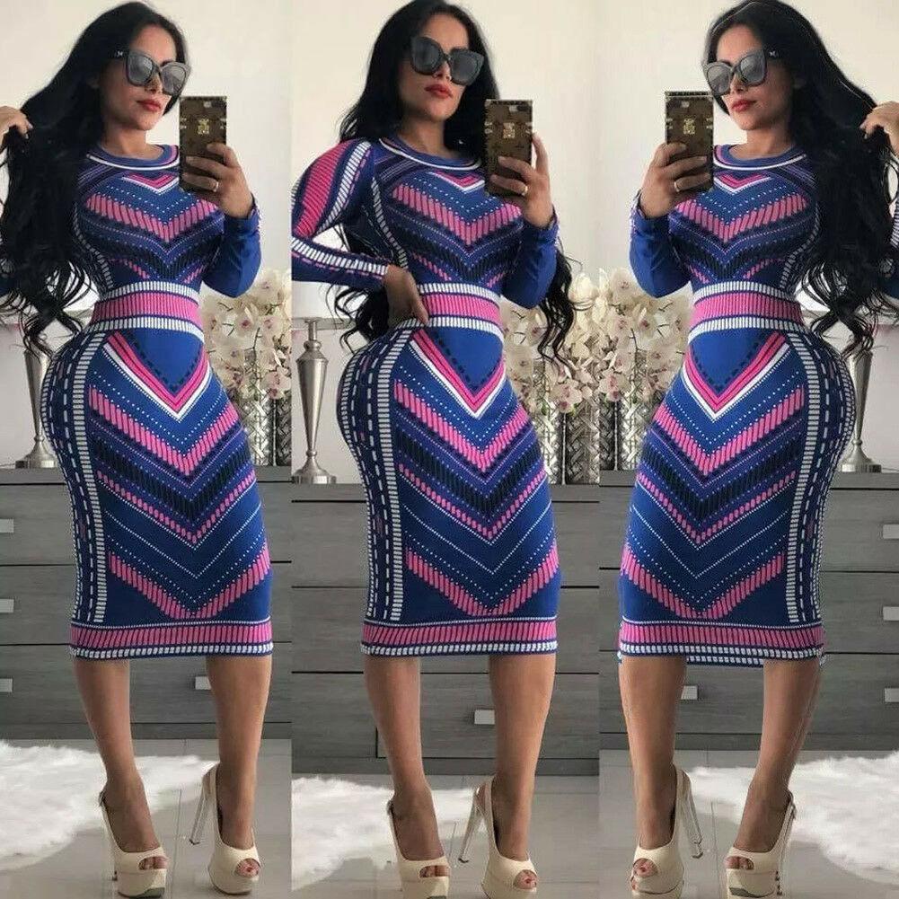 Vintage Retro Golden Printed Sexy Women Bodycon Party Dress Casual Long Sleeve Elegant Ladies Clubwear Pencil Dresses