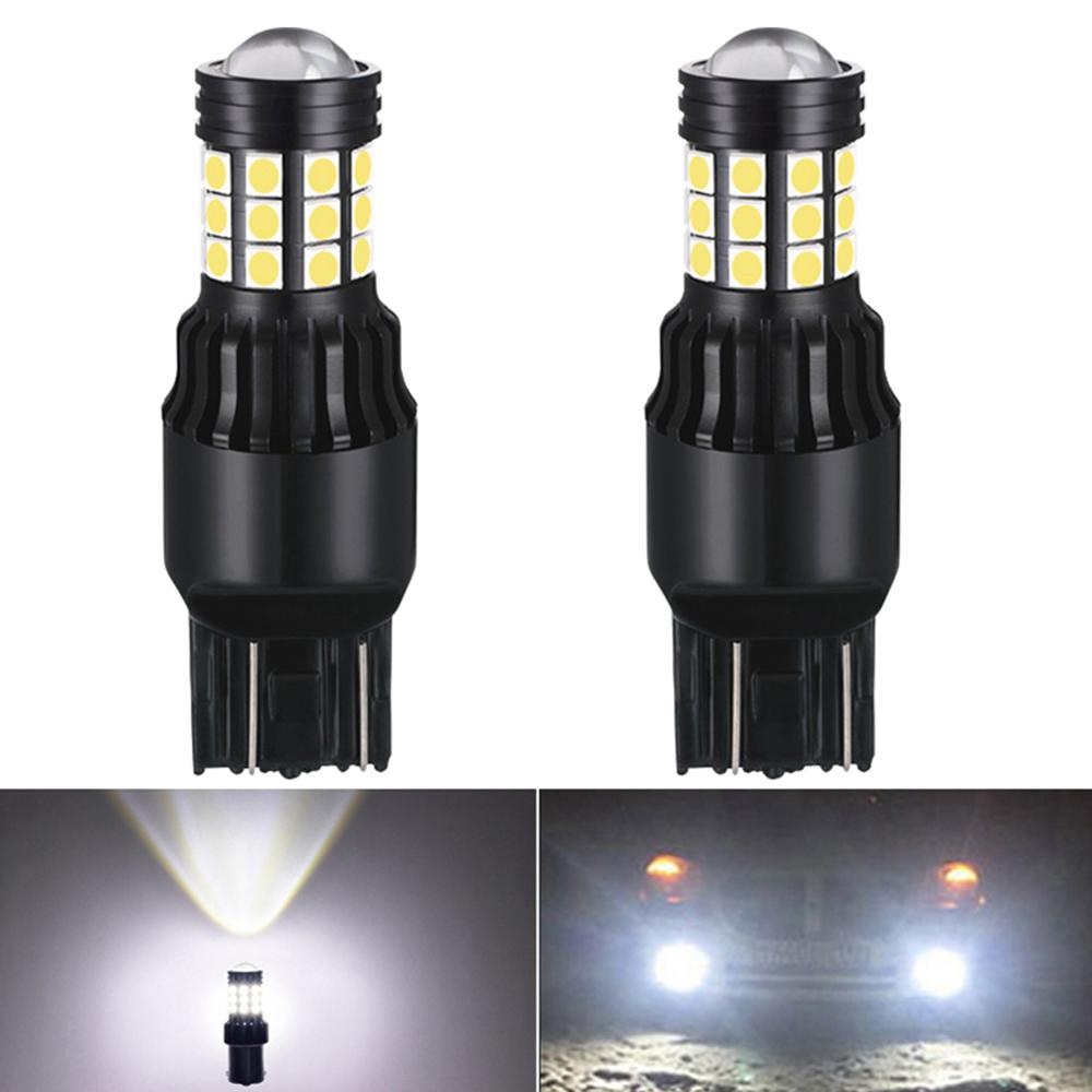 2x Canbus W21W W21/5W <font><b>LED</b></font> <font><b>T20</b></font> 7440 <font><b>7443</b></font> 7444NA W21 Auto DRL Running Turn Signal Tail Brake Stop Reverse Lamp 1800LM White Red image