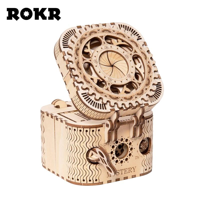 ROKR DIY 3D деревянная головоломка коробка для хранения пароль коробка для сокровища сборочная Модель Строительный набор игрушки для детей LK502