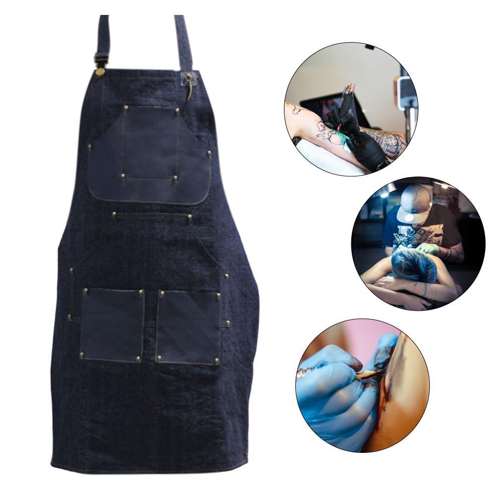 Black Tattoo Artist Apron Denim BBQ Cleaning Apron Cooking Apron Bartender Man Cowboy Antifouling Home Chef Apron 27 X 34 In 40p