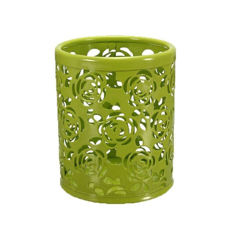 1 X Cylindrical Metal Hollow Rose Pen Holder Office Storage Box - Green