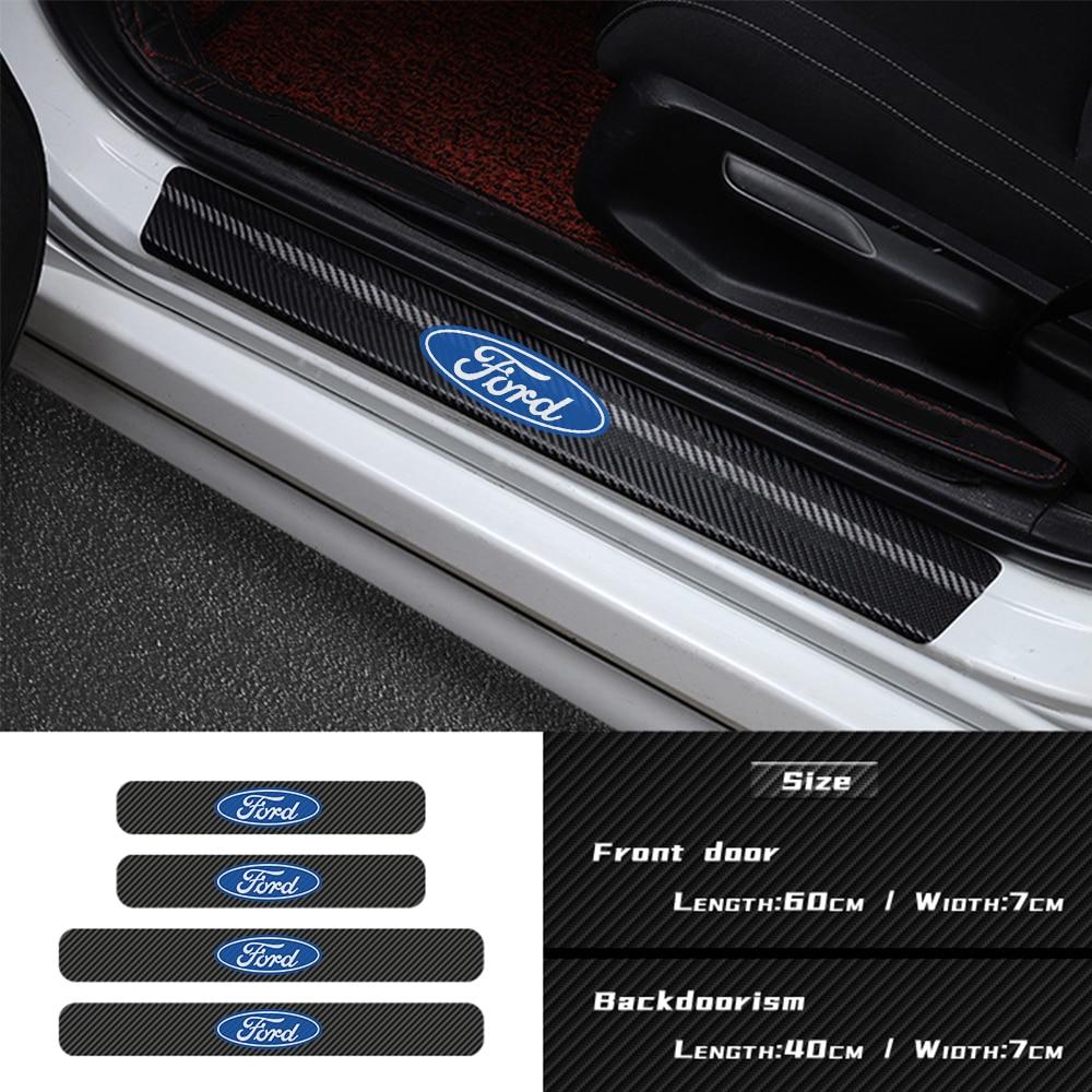 Pegatina de fibra de carbono para el umbral de la puerta del coche, pegatina de alféizar, accesorios de decoración para ford focus 2 3 4 mondeo fiesta ecosport kuga
