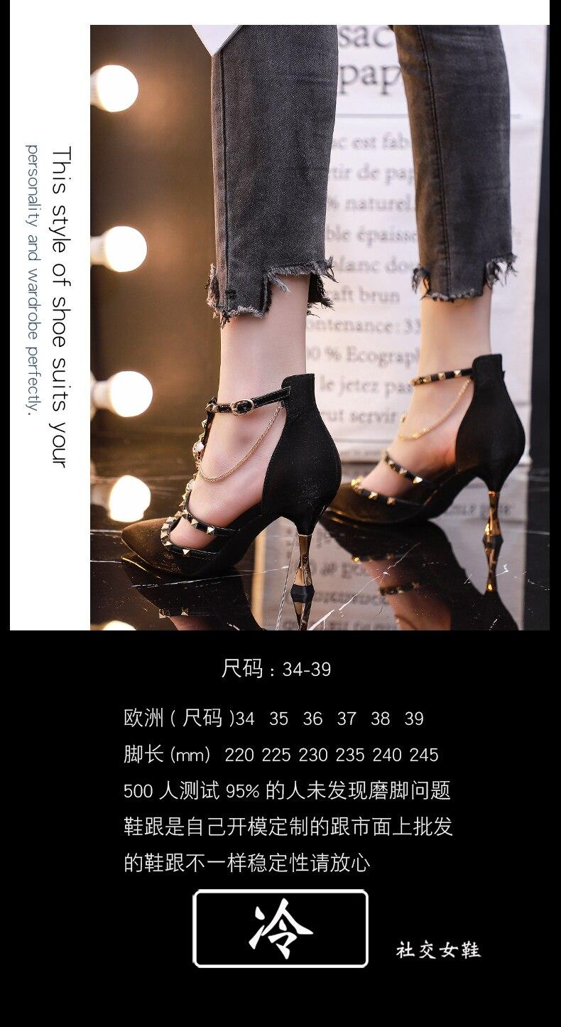 2020 verão novo preto sapatos de salto