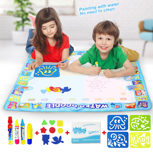 $ US $5.50 100*100cm Big Size Water Drawing Board Mat Painting with Water Doodle Pen Non-toxic Coloring Drawing Toys for Kids