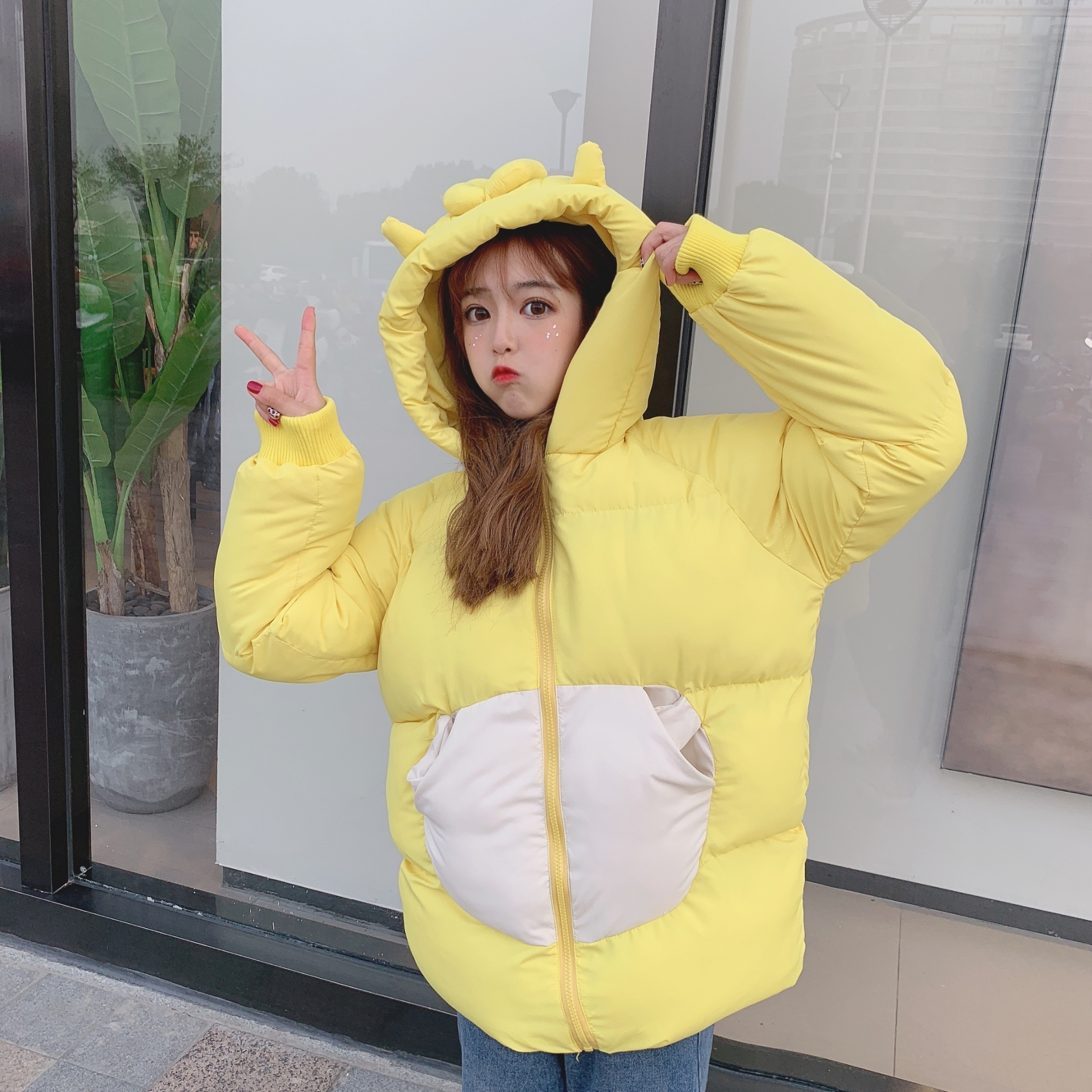 NiceMix Sweet Style Cute Hooded Cotton Coats Female Long Sleeve Winter New Fashion Parkas Women 3 Colors  Outerwear