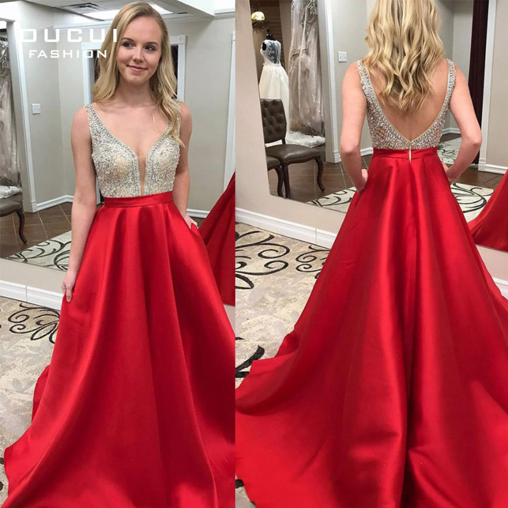 Deep V-neck Beaded Formal Pageant Evening Dresses 2019 Long Red Satin Prom Dresses with Pocket Backless Sweep Train OL103517