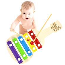 Деревянная гитара Форма 5-Note ксилофонная музыка инструмент Развивающие детские игрушки