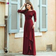 Evening Dresses Long 2020 Elegant A line Lace Half Sleeve Vestidos De Fiesta De Noche Sexy Plus Size Burgundy Formal Party Gowns