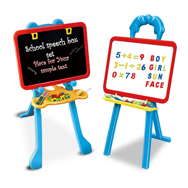Large Size Double-Sided Magnetic Blackboard Child Drawing Kit Writing Board Height Adjustable Easel Plastic Toy